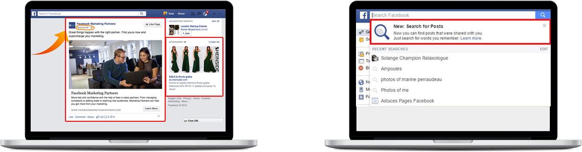 Liens sponsorisees facebook emarketing